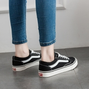 Summer ulzzang canvas shoes black shoes casual shoes all-match female student Korean flat with Hong Kong Wind shoes