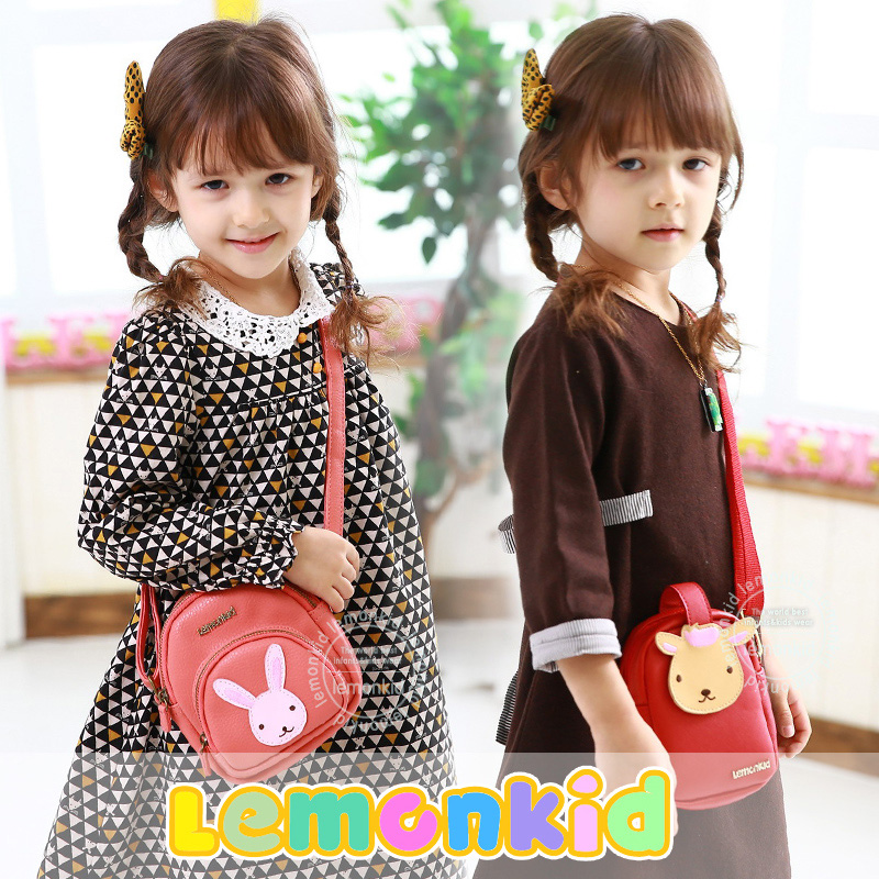Lemonkid the New South Korean children bangalor female high-grade animal Pu Xiekua package wallet essential gifts