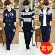 The spring and autumn sports sweater suits young male high school student coat man autumn two piece
