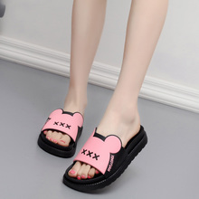 2017 New Cool Slippers Female Summer Increased Thick Underwear Cute Home Home Interior Flat Heel Soft Slip Slip Bath Slippers