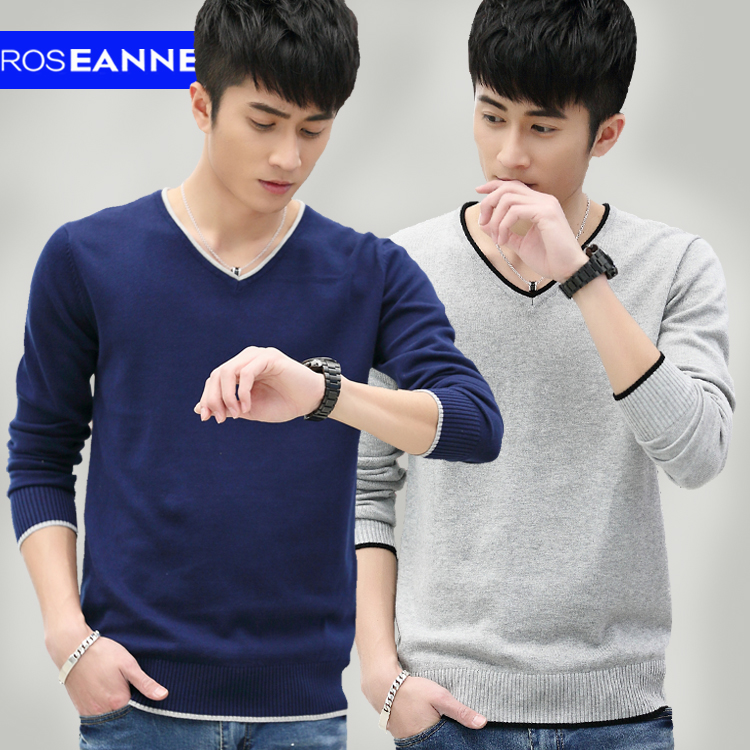 Autumn new sweater thin long sleeved shirt young male V collar head Sweater Size Cotton tide
