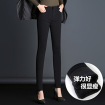 High waist jeans women plus wearing stretch velvet padded winter warm base black pencil pants feet pants long