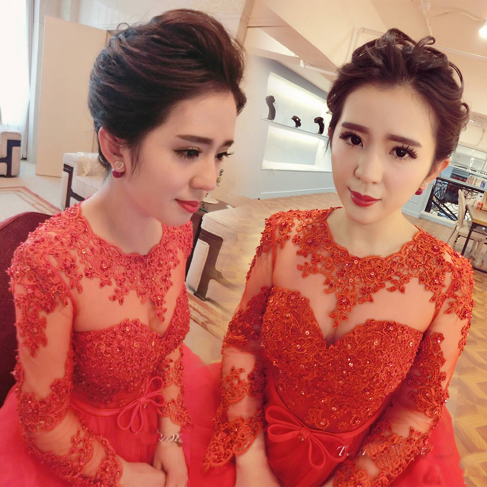 Wedding dresses the bride, 2015 new autumn and winter red lace shoulder long sleeve has a word to take high waist wedding toast