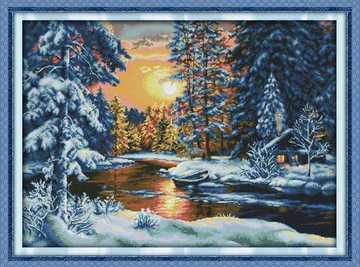 油画十字绣风景画夕阳雪景新款客厅小幅满绣树林森林小屋田园系列