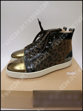 CHRISTIAN LOUBOUTIN CL red leopard color tie high shoes spot