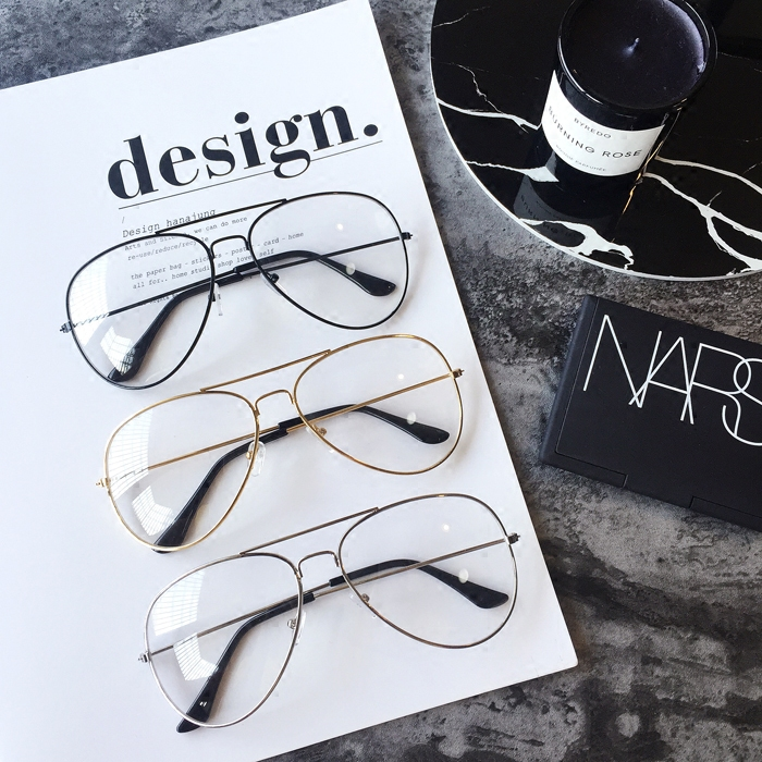 Shipping and other retro trend all-match metal frame sunglasses flat mirror glasses and glasses