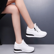 White shoe 2017 female new shoes in autumn increased all-match Korean side zipper shoes soled sports shoes