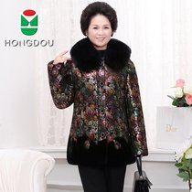 Winter new style red beans aged mother put down coat women long wool collar padded plus size jacket white duck down
