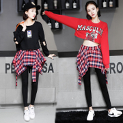 The new student jazz dance hip-hop clothing female culottes navel coat adult cheerleading costume DS