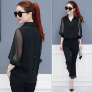 In the autumn of 2017 new long sleeved chiffon shirt shirt blouse Korean super thin shirt Xian cover belly female autumn