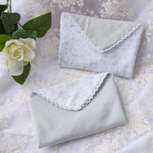 [handkerchief] cotton double pure and fresh quietly elegant Ms handmade cotton handkerchief ceremony | shallow pea green to bake with | time hole