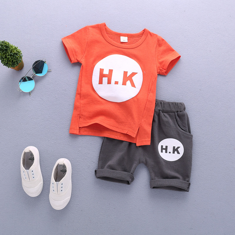 Kids 2017 New Summer Boys fashion leisure hole popsicle short sleeved T-shirt + striped shorts two piece set