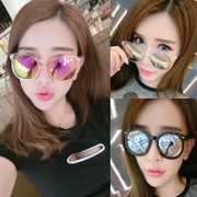 Sunglasses, pop stars, glasses, 2017 new round colored sunglasses, lady round face, Korean retro eyes