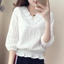 New 2017 summer chiffon shirt women loose Korean self slim Lace Sweater v neck cropped sleeve Jacket Women