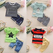 Children's short suit summer 2017 Korean boys summer 1-2-3-4 years old baby wear T-shirts and shorts tide
