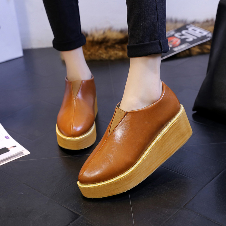 Han edition of 2015 autumn winters star in same lazy shoe sponge thick wedge fashion footwear