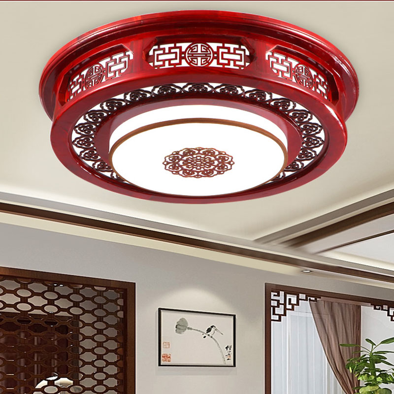Modern new Chinese style solid wood suction dome light circular led antique leather lamp living room bedroom den