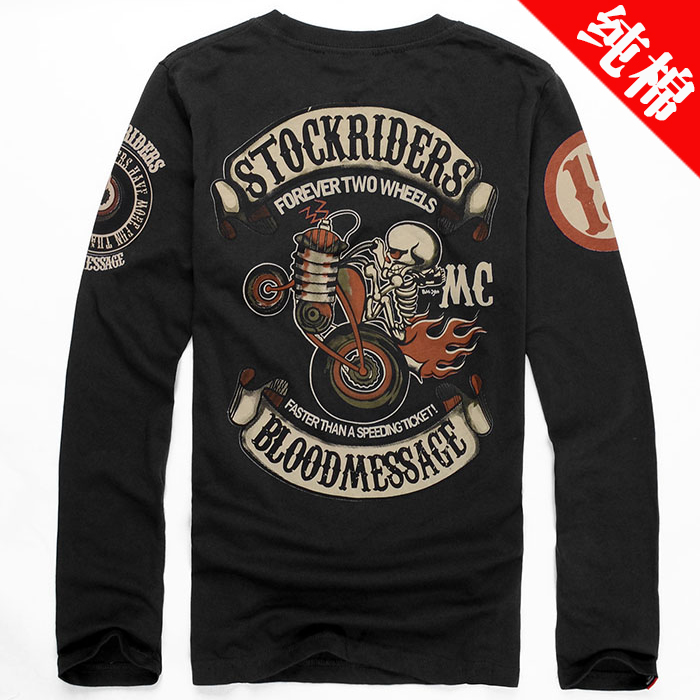 2015 new autumn tide brand men's skull t-shirt cotton long sleeved T-shirt trade locomotive student shirt