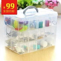 Button jewelry box is clear plastic lid storage box chest storage box South Korea Home Kit
