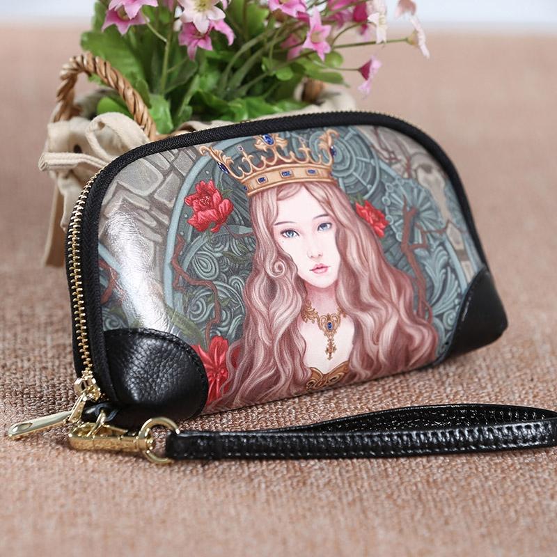韩版彩绘女手拿包手绘手包涂鸦手抓包韩版印花手机贝壳小包钱包潮