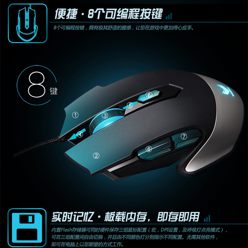 Rapoo pro V310 laser 8200 dpi e-sports game engine professional USB cable mouse CF/lol