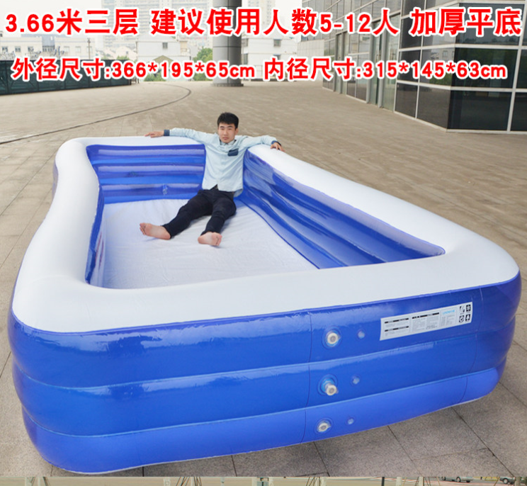 Children inflatable square pool two layer three layer swimming pool bubble bottom play pool foot pump mail family 666