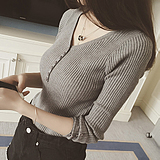 Autumn and winter new thread V collar collar button knit sweater long sleeve sweater female Slim was thin shirt