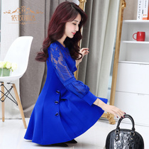Dress long sleeve slim Korean version of slim womens autumn autumn skirts knitted long lace type a at the end of the spring and Autumn period