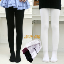 Girls in autumn and winter plus velvet padded panty Korean childrens solid color sheets at the end of double-layer warm dance socks pants