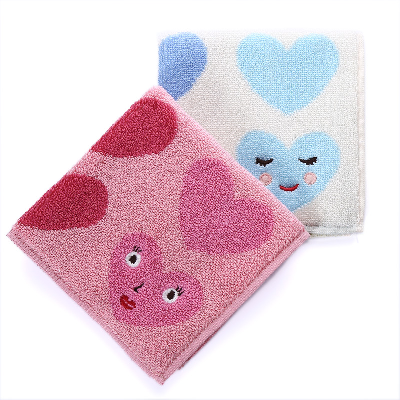 Exports, single Human wild WenZi atsuko matano smiling face peach heart pure cotton soft handkerchief small towel