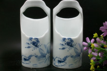 The new blue shrimp pet mynah starling spill cup cylinder bowl Jingdezhen minde hall ceramic bird food cans cage accessories