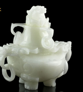 One auction draws to a close natural Bai Yuxiang furnace Afghanistan white jade incense burner rings of jade ornaments