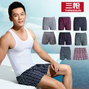 3 pieces of arrow shots underwear loose pajama pants men summer Plaid Shorts cotton pants Home Furnishing old man
