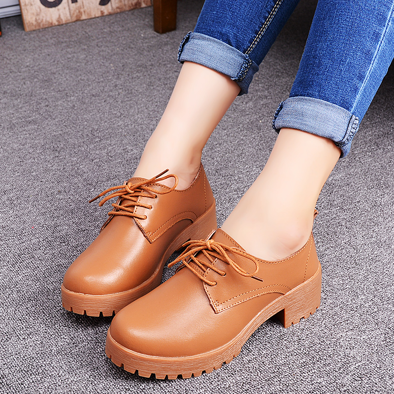 2015 in England autumn shoes with wedges coarse leather shoes casual shoes women's shoes women of tendon