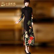 The cheongsam long long sleeved winter daily slim Vintage cheongsam Chinese dress dress skirt Adidas thickening