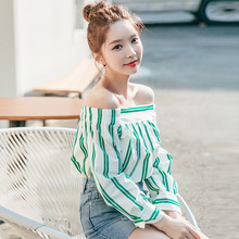 Real ladies 2017 summer new Korean striped coat collar shirt female sexy Strapless