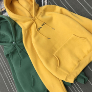 Ulzzang korean tide in autumn and winter coat student size BF plus loose cashmere thickened hooded hoodies women