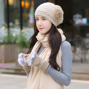 The wool hat scarf wool gloves three suit lady winter season color thick warm Korean Students