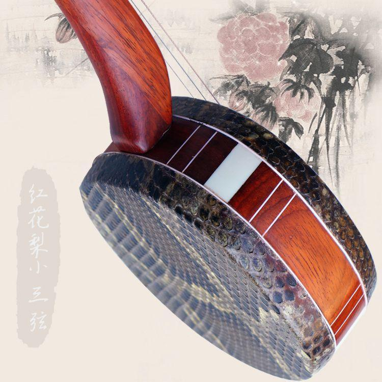Hot sale Three stringed instruments all mahogany pole third string middle Sanxian Junior String Rosewood Sanxian Special