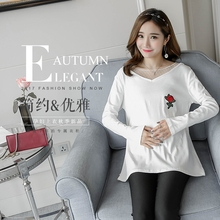 2017 new autumn trend Korea maternity cotton t-shirt t-shirt bottoming shirt stitching pregnant pregnant women.