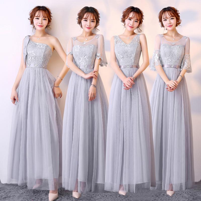 连衣服装新娘礼服司仪伴娘女主主持连衣裙灰色主持人婚礼衣裙