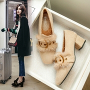 Daily specials Peas shoes Social shoes Ladies winter a pedal rough with plush shoes Female wear plus velvet heels