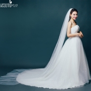 Simple Korean bride veil double 3 meters long trailing 5 meters and 10 meters of yarn soft veil wedding veil bare bag mail