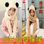 Student winter Plush hat scarf glove thickened even one of the three girls fashion suit collar