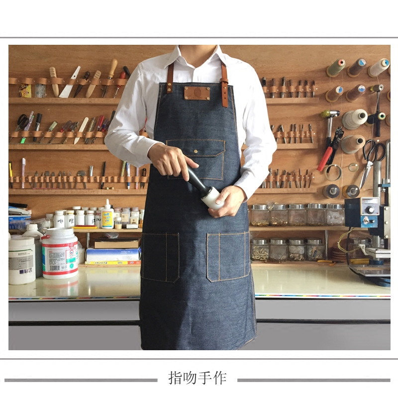Leather denim apron smock apron coffee shop restaurant pub paintings-customizable LOGO