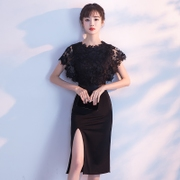 2017 new party dress elegant fashion black short dress dress female party