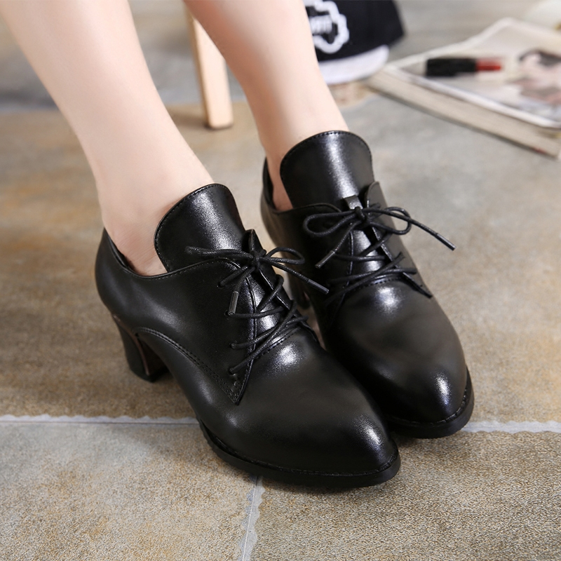 2015 deep shoes chunky heels shoes with laces with round head Korean casual shoes leather shoes with high heels shoes