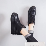 The increase in 7cm and 2017 female black velvet winter muffin bottom thick shoes new shoes all-match.