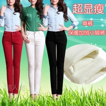 White velvet slim stretch jeans womens trousers Korean tidal Joker slimming plus size skinny feet pencil pants