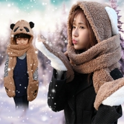 Female student winter scarf scarf hat gloves three suit one of the children's parent-child thick warm cashmere.